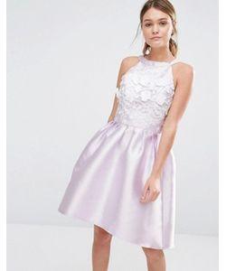 Chi Chi London | Атласное Платье Для Выпускного С Асимметричной Кромкой И 3d Вышивкой Chi