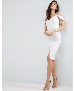 Asos | Фактурное Платье Миди С Открытыми Плечами И Вырезом Капелькой