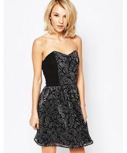 Love | Платье-Бандо С Серебристым Блочным Принтом Пейсли Черный