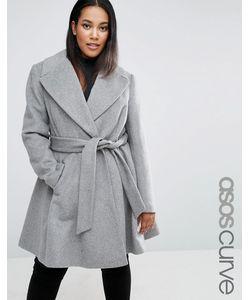 ASOS CURVE | Короткое Приталенное Пальто С Поясом Серый