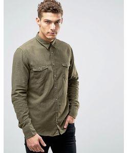 BOSS Orange | Меланжевая Фланелевая Рубашка Слим Edoslime Зеленый