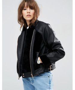 Asos | Faux Leather Biker Jacket With Fur Panels Черный
