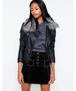 Barney's Originals   Asymmetric Pu Jacket With Faux Fur Collar Черный