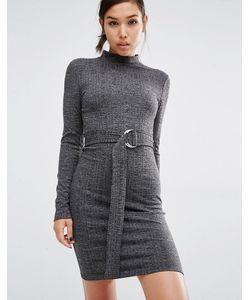First & I | Облегающее Платье С D-Кольцом На Поясе Черный