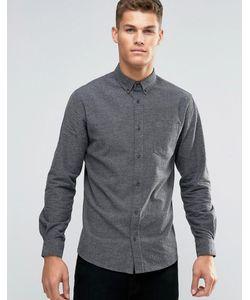 Rhino | Однотонная Фланелевая Строгая Рубашка Слим Серый