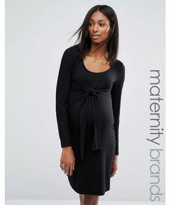 Noppies Maternity | Трикотажное Платье С Узлом Спереди Для Беременных Черный