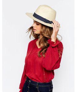 Boardwalk | Классическая Соломенная Шляпа С Лентой В Горошек Кремовый