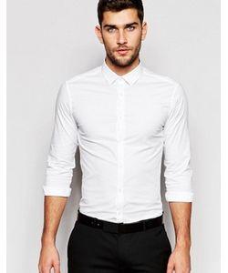 Asos | Зауженная Белая Рубашка С Длинными Рукавами