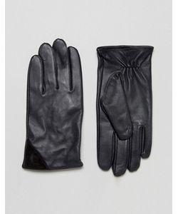 Barney's Originals | Темно-Синие Кожаные Перчатки С Черной Замшевой Отделкой Barneys