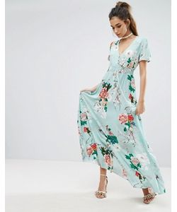 boohoo | Платье Макси С Цветочным Принтом И Пуговицами
