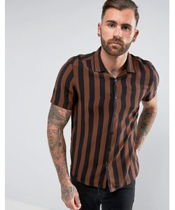 Asos | Вискозная Рубашка Классического Кроя В Полоску С Отложным Воротником