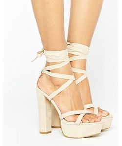 Truffle Collection | Tie Ankle Platform Heeled Sandals