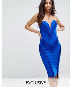 Rare | Платье-Футляр С Бахромой И Вырезом Сердечком London