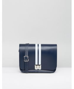 Leather Satchel Company | Navy Pixie Cross Body Bag With Strip