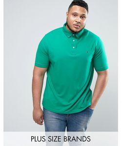 Tommy Hilfiger | Зеленое Поло Из Пике С Флажком Plus Luxury