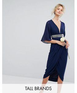 TFNC Tall | Платье Миди С Запахом На Юбке И Рукавами-Кимоно