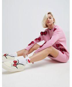 Asos | Трикотажное Платье Миди С Объемными Бантиками Hello Kitty X