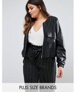 Elvi | Куртка В Полоску С Отделкой Из Искусственной Кожи