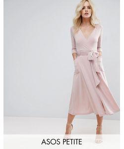ASOS PETITE | Креповое Платье Миди С Запахом
