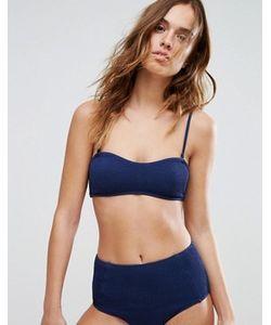 Weekday   Textured Navy Crop Bikini Top