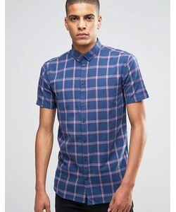 Minimum | Темно-Синяя Рубашка Слим В Клетку С Коротким Рукавом