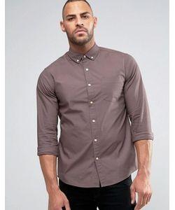 Asos | Фиолетовая Саржевая Рубашка Классического Кроя