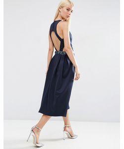 Asos   Платье Миди Для Выпускного С Декорированной Талией И Вырезами