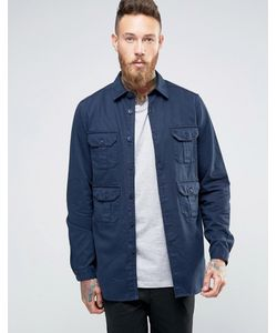 Asos | Heavyweight Overshirt With Pockets In Navy Темно-Синий