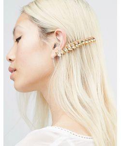 Krystal | Гребень Для Волос С Кристаллами Swarovski Marquise Золотой