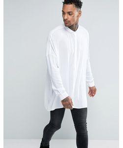 Asos   Белая Oversize-Рубашка С Заниженной Линией Плеч Белый