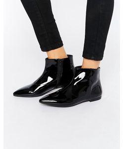 Vagabond | Черные Ботинки Из Лакированной Кожи На Плоской Подошве Katlin