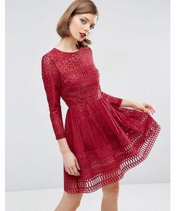 Asos | Кружевное Приталенное Платье Premium