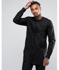 Asos | Черная Супердлинная Рубашка Со Складками У Горловины