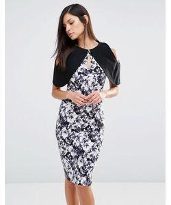 Vesper | Монохромное Платье-Футляр С Короткими Рукавами И Цветочным Принтом Черный