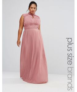 TFNC Plus | Wedding Pleated Maxi Dress With Lace Detail Розовый