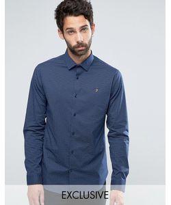Farah | Узкая Рубашка Стретч В Горошек Темно-Синий