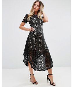 Jessica Wright | Кружевное Приталенное Платье Миди