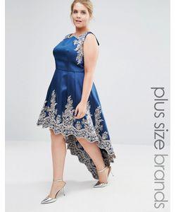 Chi Chi Plus | Платье Миди С Вышивкой И Асимметричной Кромкой Chi Chi London Plus