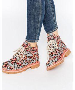 Cat Footwear | Красные Ботильоны На Шнуровке Cat Ridge Walala Мульти