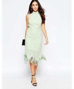 Style London | Платье С Халтером И Бахромой По Кромке