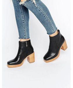 Eeight | Laverne Platform Stacked Leather Heeled Ankle Boots Черный