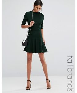 Y.A.S Tall | Romain Pleated Mini Skirt Зеленый