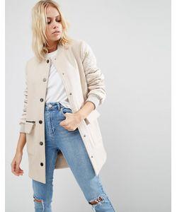 Asos | Пальто Со Стегаными Рукавами В Стиле Куртки-Пилот Stone