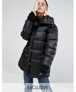 Puffa | Удлиненная Дутая Оversize-Куртка Черный