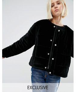 Puffa | Бархатная Дутая Оversize-Куртка Без Воротника Черный