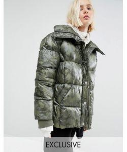 Puffa   Дутая Оversize-Куртка С Камуфляжным Принтом Зеленый