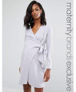 Missguided Maternity   Платье-Рубашка С Запахом Для Беременных Серый
