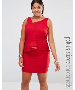 Little Mistress Plus | Платье-Футляр С Асимметричной Плиссировкой Красный