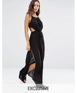 Akasa | Пляжное Платье Макси С Вырезом Капелькой Черный