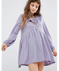 Rokoko | Платье С Присборенной Юбкой Оборкой И Завязкой Спереди Фиолетовый